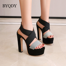 BYQDY Gladiator Sandals Roman Women Sandals High Heels Open Toe Ankle Strap Sandals Elastic Band Shoes Large Solid Black Shoes aneikeh high heels sandals women summer shoes elastic band open toe gladiator wedding party dress shoes woman sandals apricot