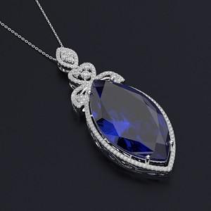 Image 3 - PANSYSEN nowy projekt ślub marka Big Mariquesa Ruby Sapphire wisiorek naszyjniki dla kobiet srebro 925 biżuteria naszyjnik Party prezent