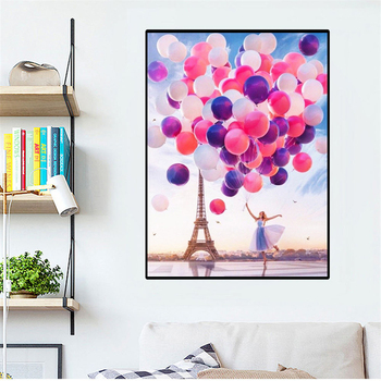 HUACAN New Diamond Painting Eiffel Tower Cross Stitch Full Drill Diamond Mosaic Landscape Balloon Craft