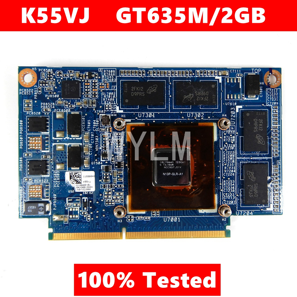 For ASUS K55VJ Graphic Card GeForce GT 635M N13P-GLR-A1 2GB Video Card Fit A55V K55VM  K55VJ K55V Laptop Video Card 100% Tested