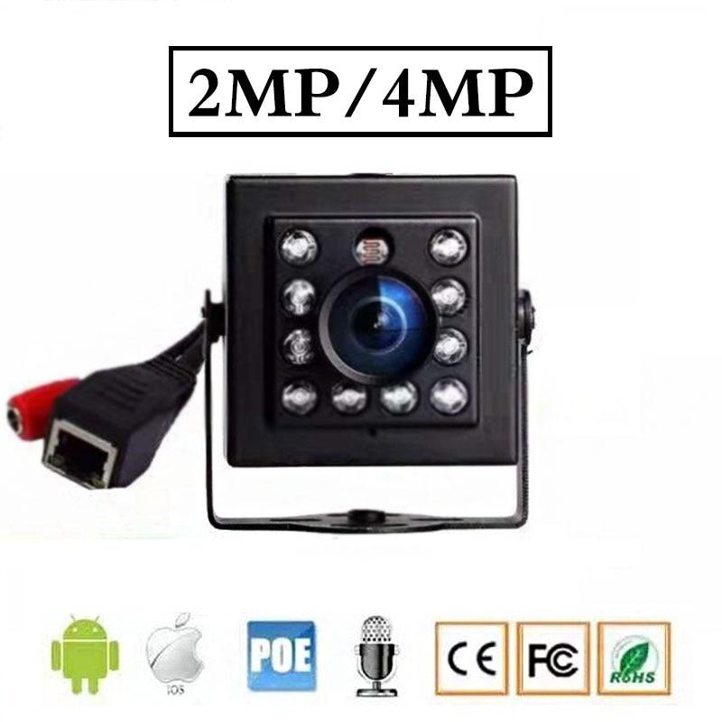 1080 p 2mp/4mp poe microfone embutido opcional mini câmera de segurança de vídeo 940nm 8 leds ir visão noturna onvif câmera interna
