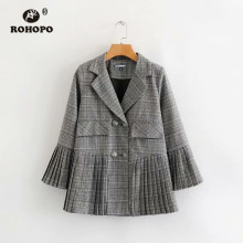 ROHOPO Female Autumn Plaid Gray Skirt Blazer Double Breast Buttons Butterfly Sleeve British Academy Outwear #A190736