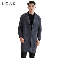 UCAK Brand Wool Coat 2019 New Arrival Winter Coat Men Fashion Long Jacket Men Thick Warm Coats Manteau trench Overcoat Top U8002