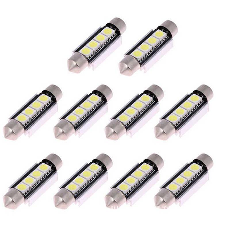 4x Membangun C10W C5W Lampu LED Mobil Canbus 5050 4 SMD 42Mm Bulb Auto License Plate Lampu Membaca Interior lampu Dome Lampu 12V
