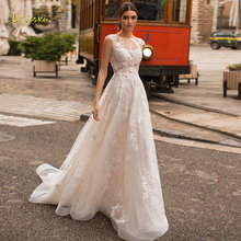 Wedding-Dresses Train-Tank Bridal-Gowns Loverxu Appliques Lace Vintage Luxury Court Scoop Neck