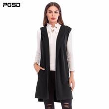 PGSD Neue Einfache Mode Reine Farbige Frauen Kleidung Mittel lange ärmelloses strick weste Mit Kapuze Strickjacke Pullover mantel weibliche
