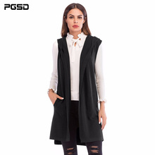 PGSD New Simple Fashion Pure Colored Women Clothes Medium long sleeveless knitted waistcoat Hooded Cardigan Sweater coat female