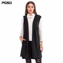 Pgsd 새로운 간단한 패션 순수 컬러 여성 의류 중간 긴 민소매 니트 양복 조끼 후드 가디건 스웨터 코트 여성