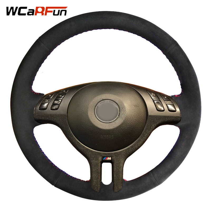 WCaRFun DIY Hand-Stitched Black Suede Car Steering Wheel Cover For BMW E39 E46 325i E53 X5