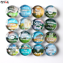 QiYue 16  Letter Landscape Patterns  Fridge Stickers  Refrigerator Magnet Modern Home Decoration Can Be Customized 50mm van gogh art paintings refrigerator stickers starry night sunflowers fridge magnet landscape glass crystal cabochon decor