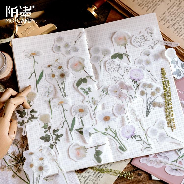 JIANWU 45sheets The Medici Garden Series Washi Papei Sticker Plant Gypsophila Retro Scrapbook DIY Bullet Journal Sticker Kawai