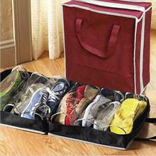 Portable Non-woven Fabric Travel 6 Grids Anti Dust Shoe Storage Bag Rectangle PVC Thickened Shoes Organizer Drawer Boxes