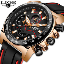LIGE New Watch Men Silicone Strap Swiss Brand Quartz Luxury Creative Waterproof Date Casual Watches Relogio Masculino
