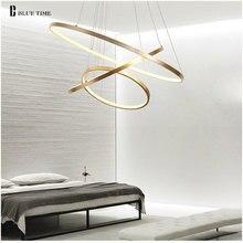 זהב & שחור & לבן מודרני Led נברשות 40 60 80 100cm מעגל Led תקרת נברשת תאורת סלון חדר מטבח זוהר