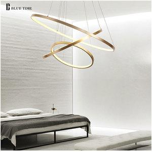 Image 1 - זהב & שחור & לבן מודרני Led נברשות 40 60 80 100cm מעגל Led תקרת נברשת תאורת סלון חדר מטבח זוהר