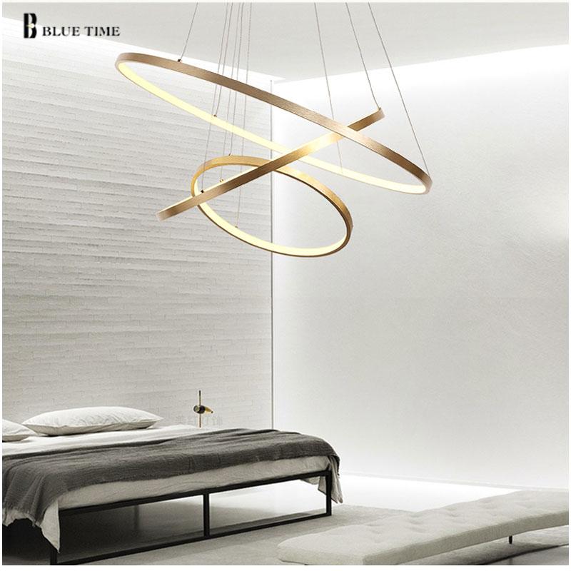 Ouro & preto & branco moderno led lustres 40 60 80 100cm círculo led lustre de teto luminária sala estar cozinha lustre