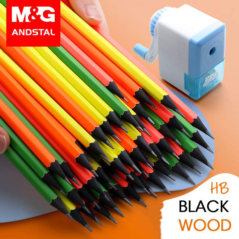 M&G 72/36pcs Pre-sharpened Fluorescent Black Wood School Pencil With Eraser Andstal HB 2B Wooden Lead Pencils Graphite Drawing Sketch For School Kids Supplies Stationery Stationary