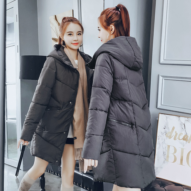 2018 Autumn & Winter New Style Korean-style Slim Fit Slimming Mid-length Hooded Cotton-padded Clothes Women's Large Size Fashion