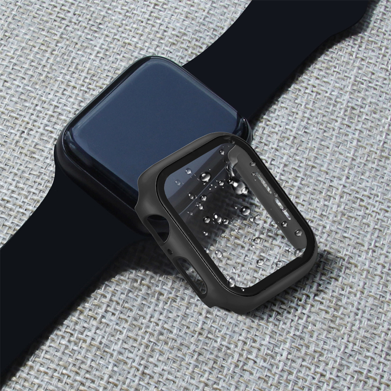 Screen Protector with case For iWatch 4 5 40mm 44mm Full Cover PC Protection case + tempered glass For Apple Watch Accessories