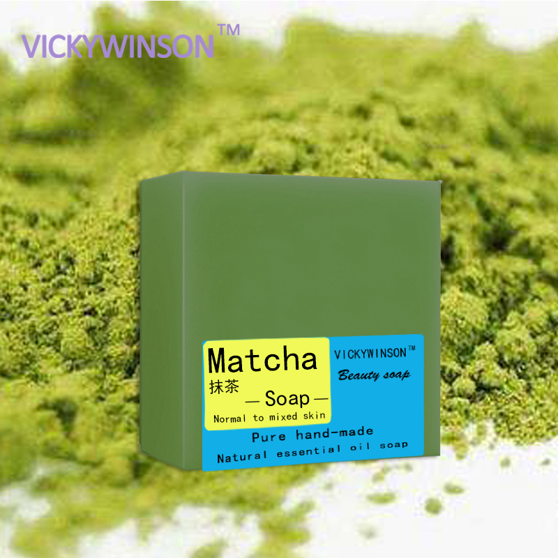 VICKYWINSON Matcha Handmade Soap 100g Oil Control Hand Made Soap Acne Treatment Facial Cleanser Whitening Moisturizing