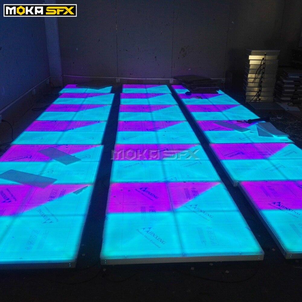 32 квадратных метра 1 м * 1 м LED танцпол RGB цвет акриловая панель алюминиевая рама DMX контроль 31 канал Подшипник нагрузки 800 кг