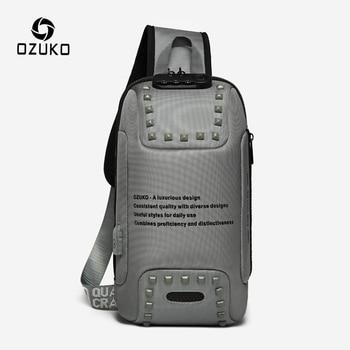 OZUKO Fashion Men Rivet Crossbody Bags Anti-theft Messenger Bag USB Charging Chest Pack Short Trip Water Repellent Shoulder Bag