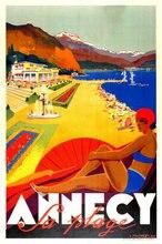 Annecy praia frança anúncio de viagem vintage retro estilo placa sinal de metal, férias