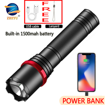 ZHIYU High-power Rechargeable Flashlight Bright Led Linterna Led Torch T6 Power Bank Zoomable Bicycle Light for Cycling, Camping cgig q7 high quality 12000mah power bank w lcd display led torch for iphone samsung more
