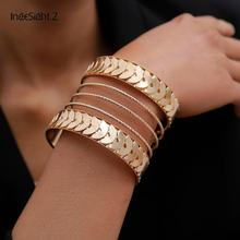 IngeSight.Z Punk Exaggerated Geometric Big Cuff Bangles Char