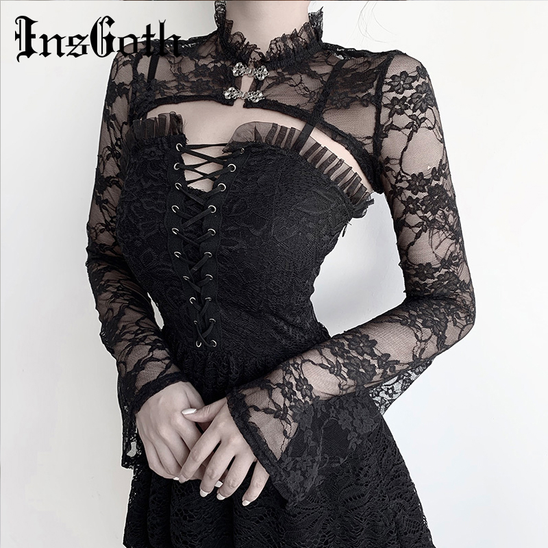 InsGoth Sexy Lace Short Sweatshirts Women Vintage Flower Embroidery Long Sleeve Sweatshirts Gothic Streetwear Party Elegant Tops