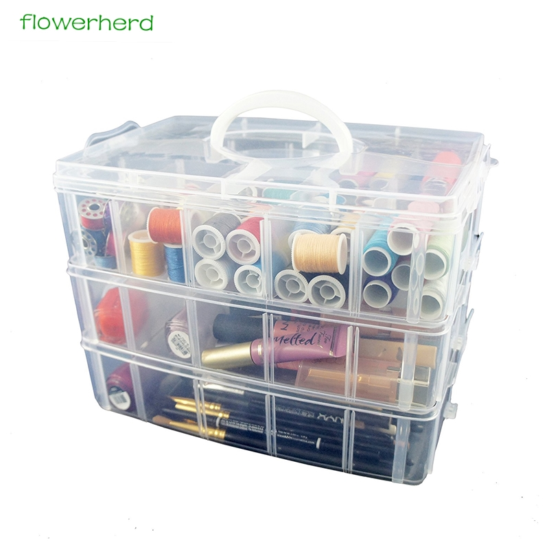 Large Storage Container With 30 Adjustable Compartments Container For Thread Storing Sewing Embroidery Accessories Bobbins Beads