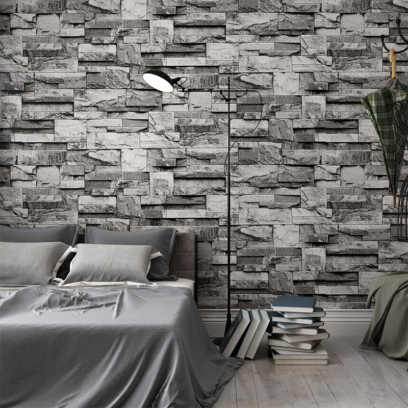 Wholesale Retail New Chinese Style Artificial Stone Stones Brick Pattern Waterproof Wallpaper Shop Background Wallpaper