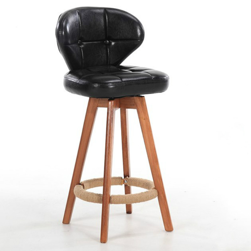 Life Nordic Rotary Bar Chair Solid Wood Stool Retro Bar Chair Backrest Simple Bar Stool Home