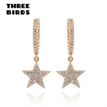 Aretes colgantes de estrella de oro de zirconia de tres pájaros de moda aretes de plata redondos de alta calidad AAAAA para mujer 2019 de joyería de gota