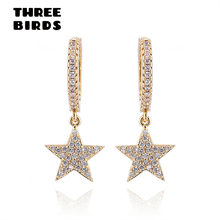 THREE BIRDS Trendy zirconia gold Star Dangle Earrings high quality AAAAA silver Round Hoop Earrings For Women drop Jewelry 2019(China)