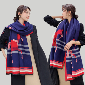 Image 1 - Brand Designer Horse Printed Scarf Women 2020 New Animal Print Winter Cashmere Thick Warm Shawls and Wraps Pashmina Blanket Cape