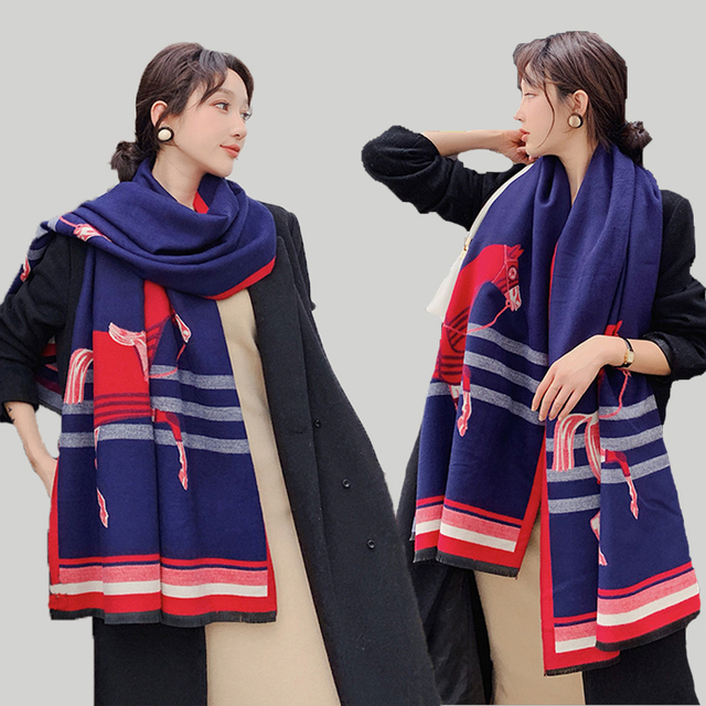 Brand Designer Horse Printed Scarf Women 2020 New Animal Print Winter Cashmere Thick Warm Shawls and Wraps Pashmina Blanket Cape