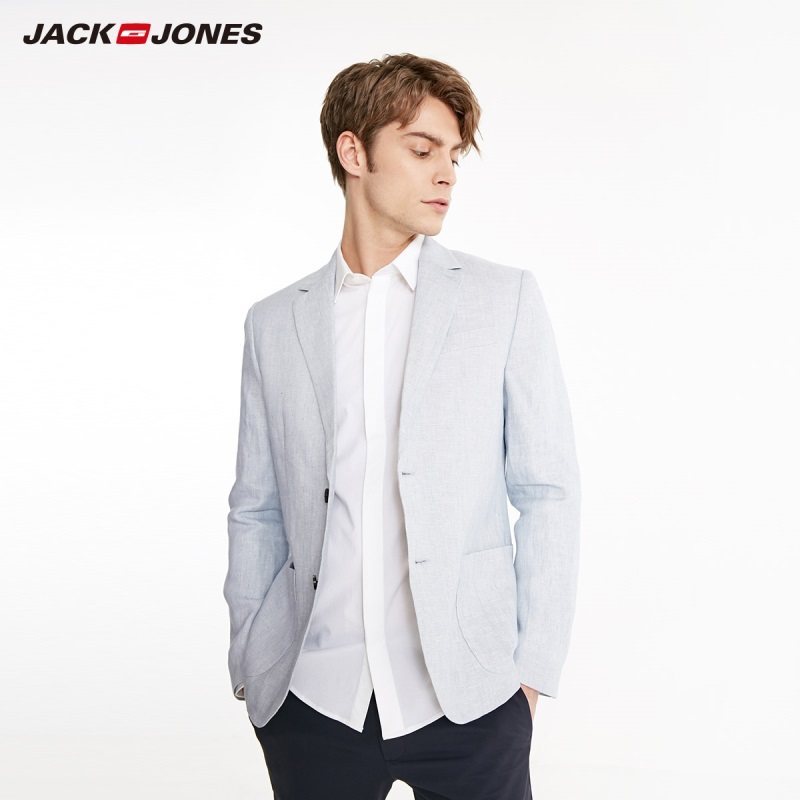 JackJones Men's Slim Fit Linen Business-casual Blazer Basic Menswear 219108517