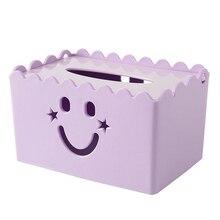 Коробка для салфеток со смайликом, Одноцветный держатель для салфеток, бумажный держатель квадратной формы, пластиковый чехол для салфеток для дома, кухни, бумажный держатель, коробка для хранения, Pu