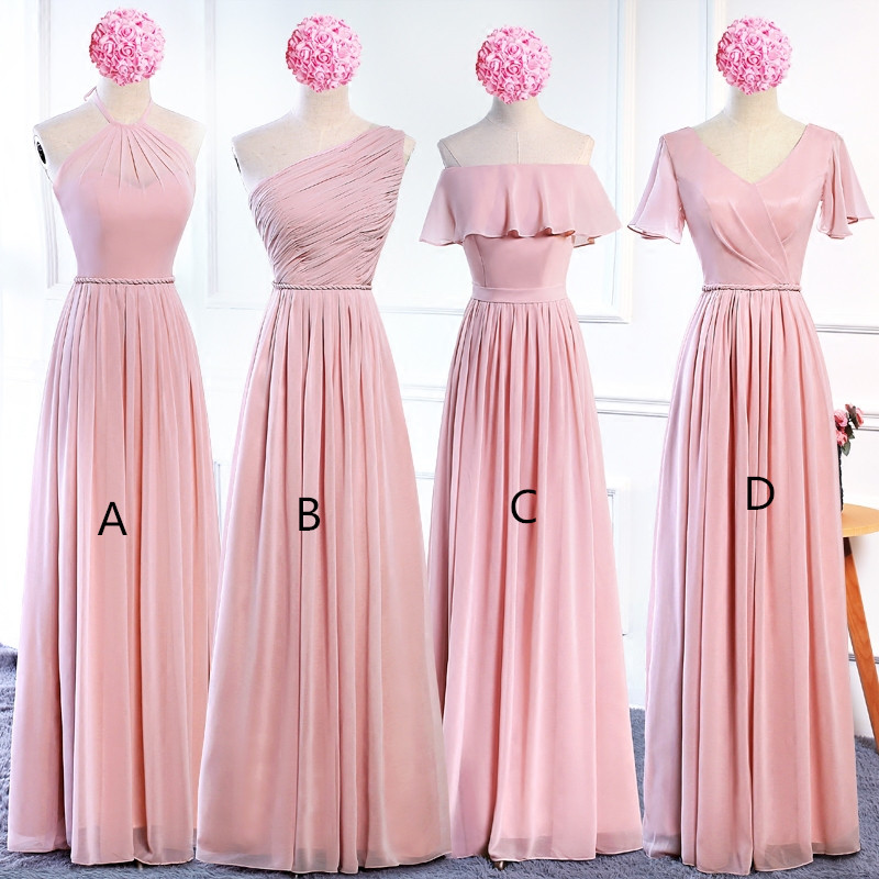 Holievery Blush Pink Chiffon Long Bridesmaid Dresses Lace Up 2019 Bohemian Bridesmaid Dress Floor Length Wedding Guest Dresses