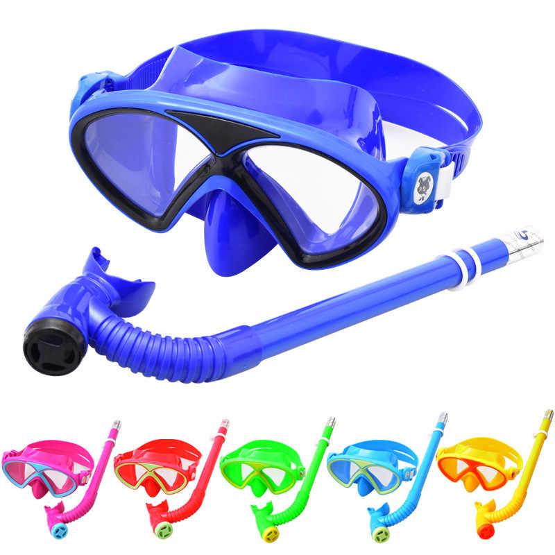 Çocuk su geçirmez yüzme gözlükleri çocuğun kız dalış maskesi takım elbise solunum tüpü yarı kuru tip şnorkel ayna yüzme gözlük