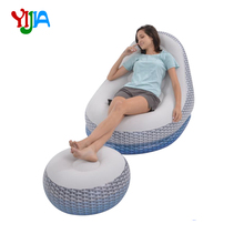 New Product Inflatable Ultra Lounge Chair Blow Up Chaise Lounge with Ottoman  Outdoor Furniture Garden Sofas
