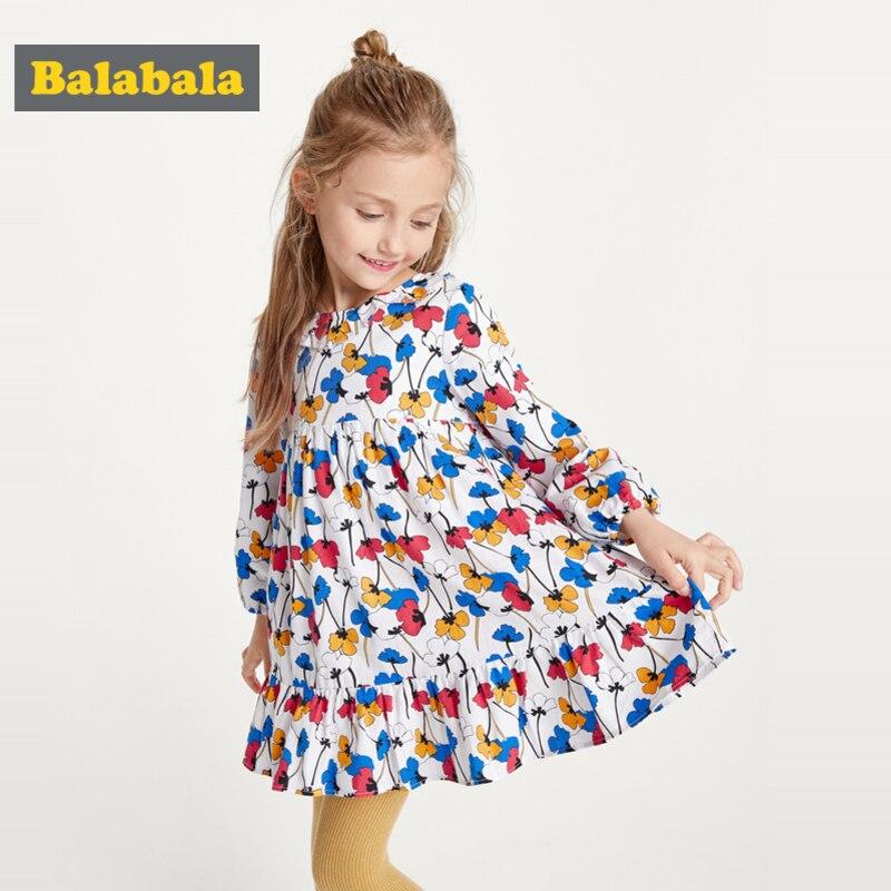 Balabala Girls floral dress spring dress 2020 new cotton long sleeve dress children costume dresses for princess(China)