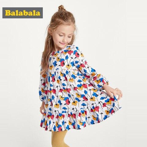 balabala meninas vestido floral primavera vestido 2020 novo algodao manga longa vestido criancas vestidos de