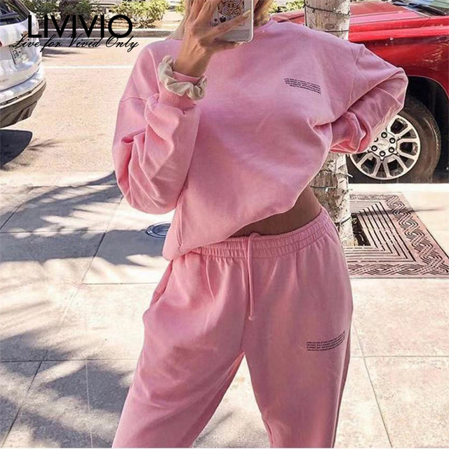 [LIVIVIO] Spring Fashion Outfits for Women Tracksuit Sweatshirt Sweatpants and Shorts Casual Sports Sweatsuits Loose fit Female 3