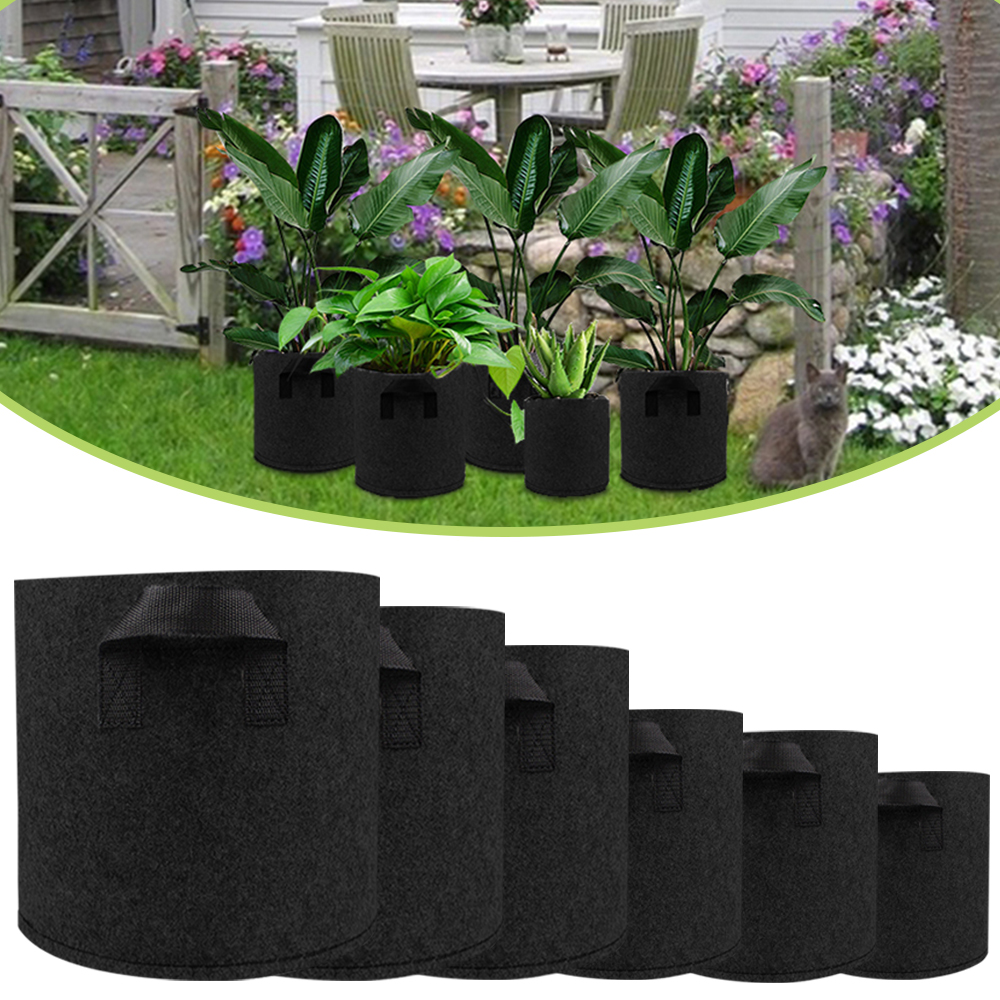Non Woven Plant Pots Grow Bag Root Pouch Container Breathable Vegetable Grow Bag With Handles Garden Supplies Grows Culture D30