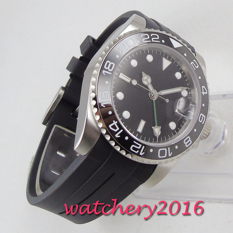40mm PARNIS Sterile Dial sapphire glass Date GMT Automatic Movement men's Watch title=