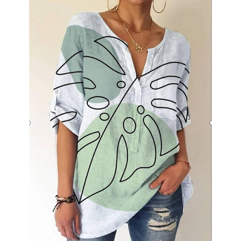 Street Style Fashion Lady Casual Tops Summer Loose Elegant Pullover Shirts for Women V-neck Printed Short-Sleeved Vintage Blouse