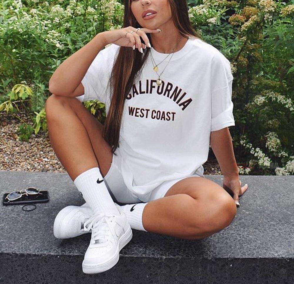 California West Coast Summer T Shirt Women Short Sleeve Funny Tshirt Women Cotton Tee Shirt Femme T-shirt White Camisetas Mujer 1