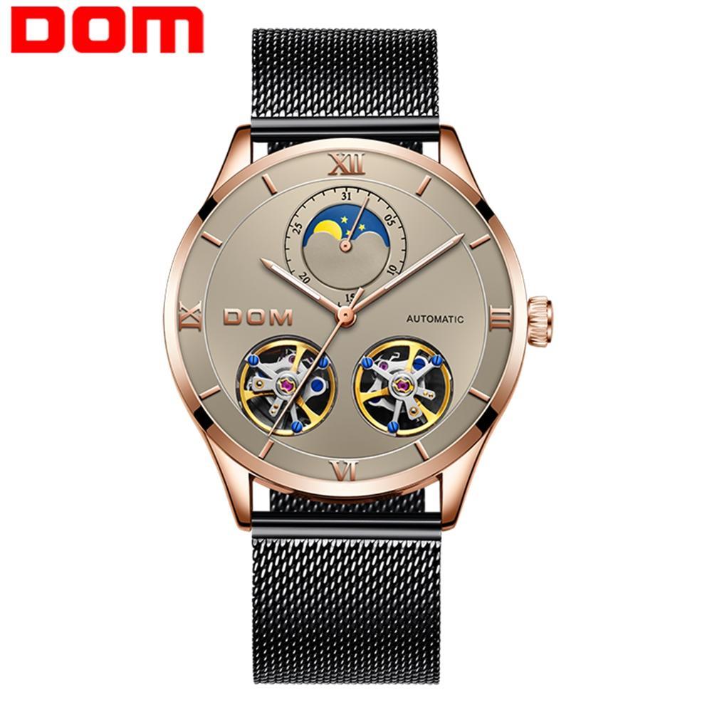 Relojes para hombre DOM, relojes deportivos mecánicos automáticos de lujo de la mejor marca, Reloj de pulsera resistente al agua para hombre, Tourbillon Reloj M-1270GK-5M Guanqin automático Reloj Mecánico Tourbillon Esqueleto reloj de deporte impermeable reloj automático reloj hombre reloj masculino